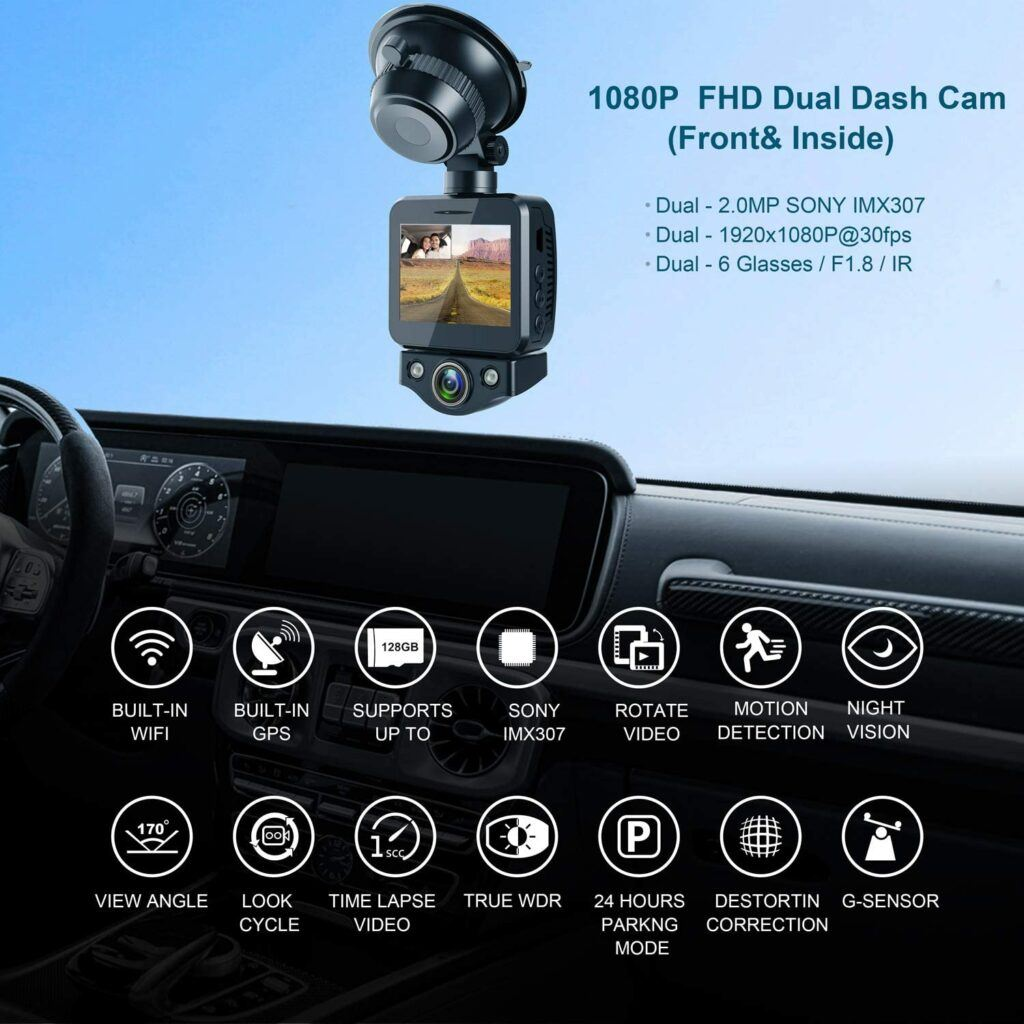 ANKEWAY 2021 New Dual Dash Cam Built-in WiFi & GPS