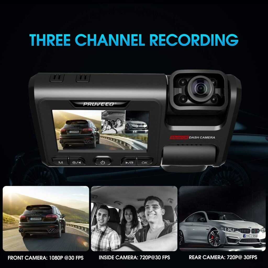 Pruveoo D40 3 Channel Dash Cam 1080p