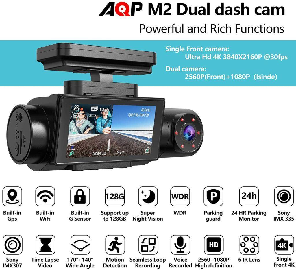 AQP Dual Dashcam, 4K Single Front Camera 2560P Review