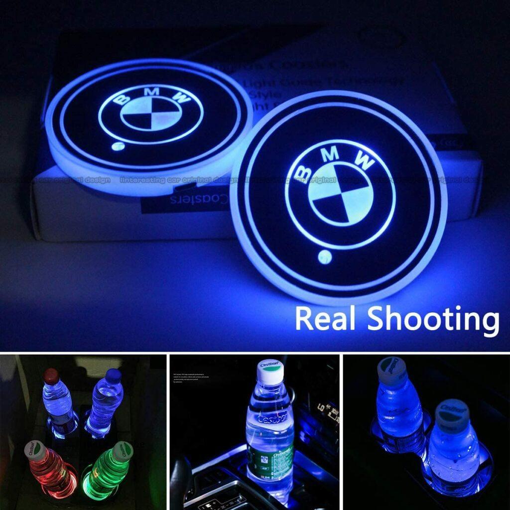Interesting car 2pcs LED Cup Holder Lights for BMW